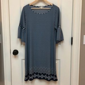 Max Studio blue dress with flutter sleeves size L